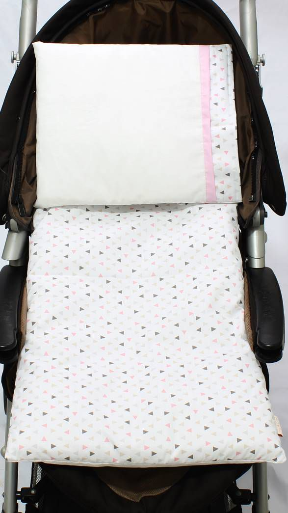Colchonete Para Carrinho Triângulo Branco com Rosa 02 Peças