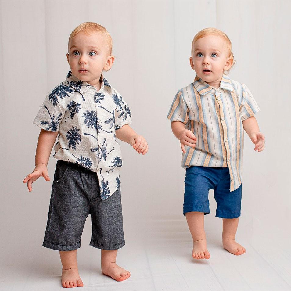 Conjunto 02 Peças Shorts Azul Jeans,Camisa Listrada Amarela   - Toca do Bebê