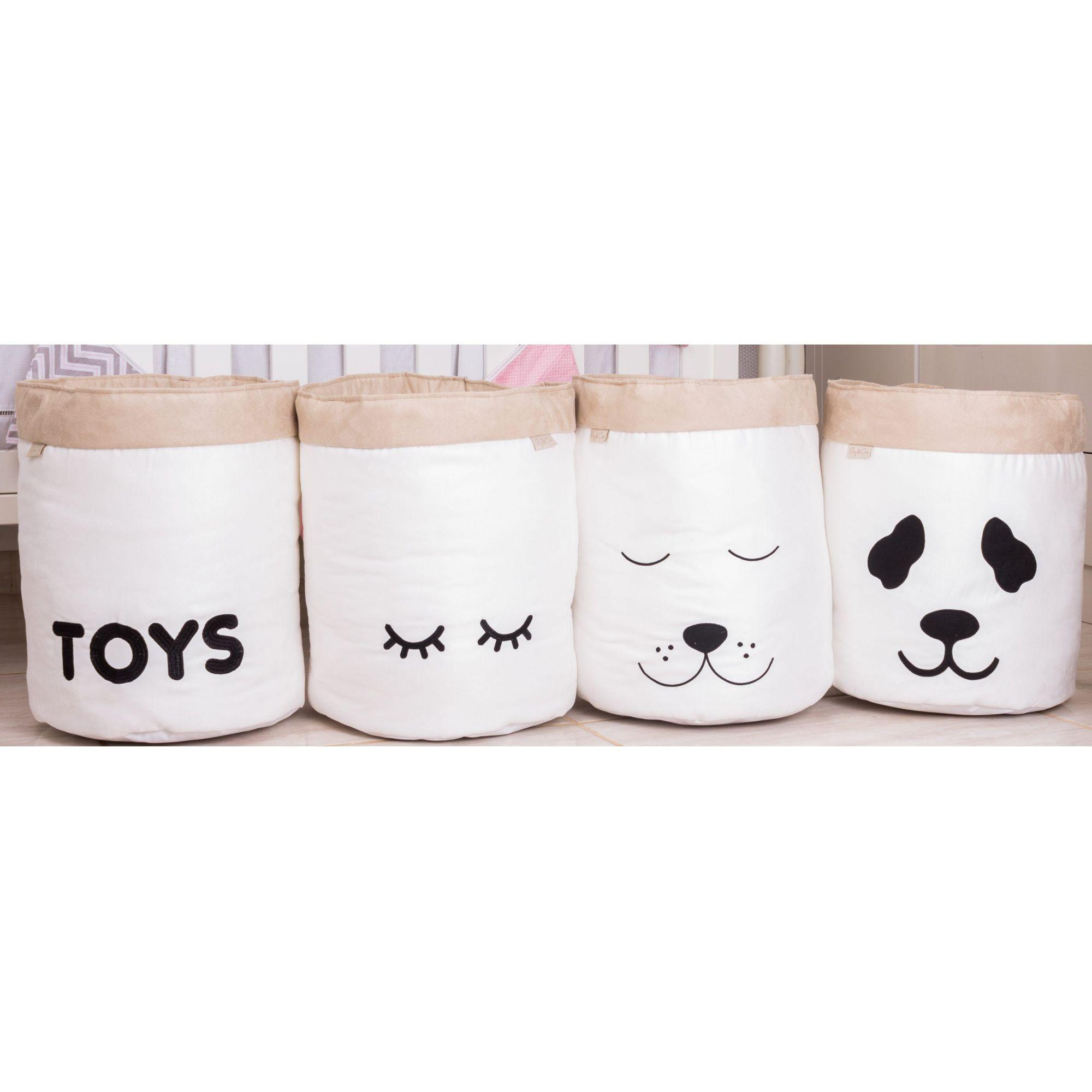 Conjunto de Cestos Organizadores Para Brinquedos Cru com Cáqui