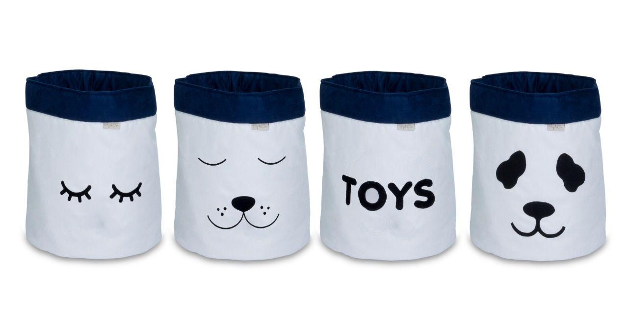 Conjunto de Cestos Organizadores Para Brinquedos Cru com Marinho