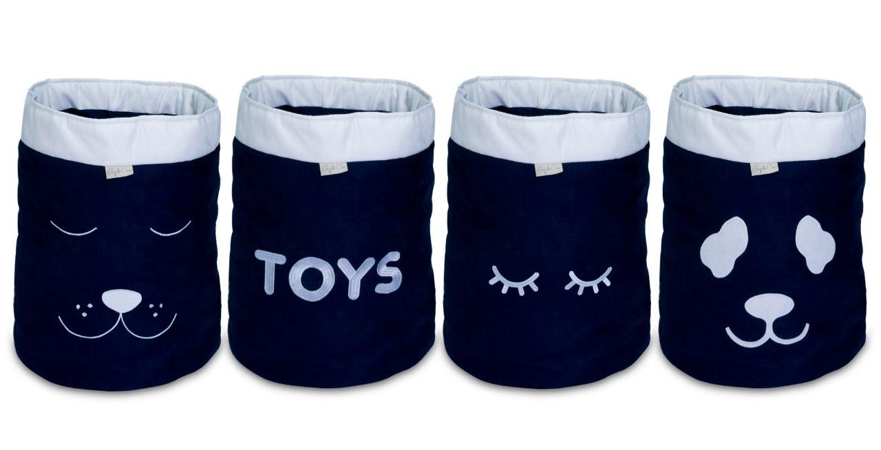 Conjunto de Cestos Organizadores Para Brinquedos Marinho com Cru