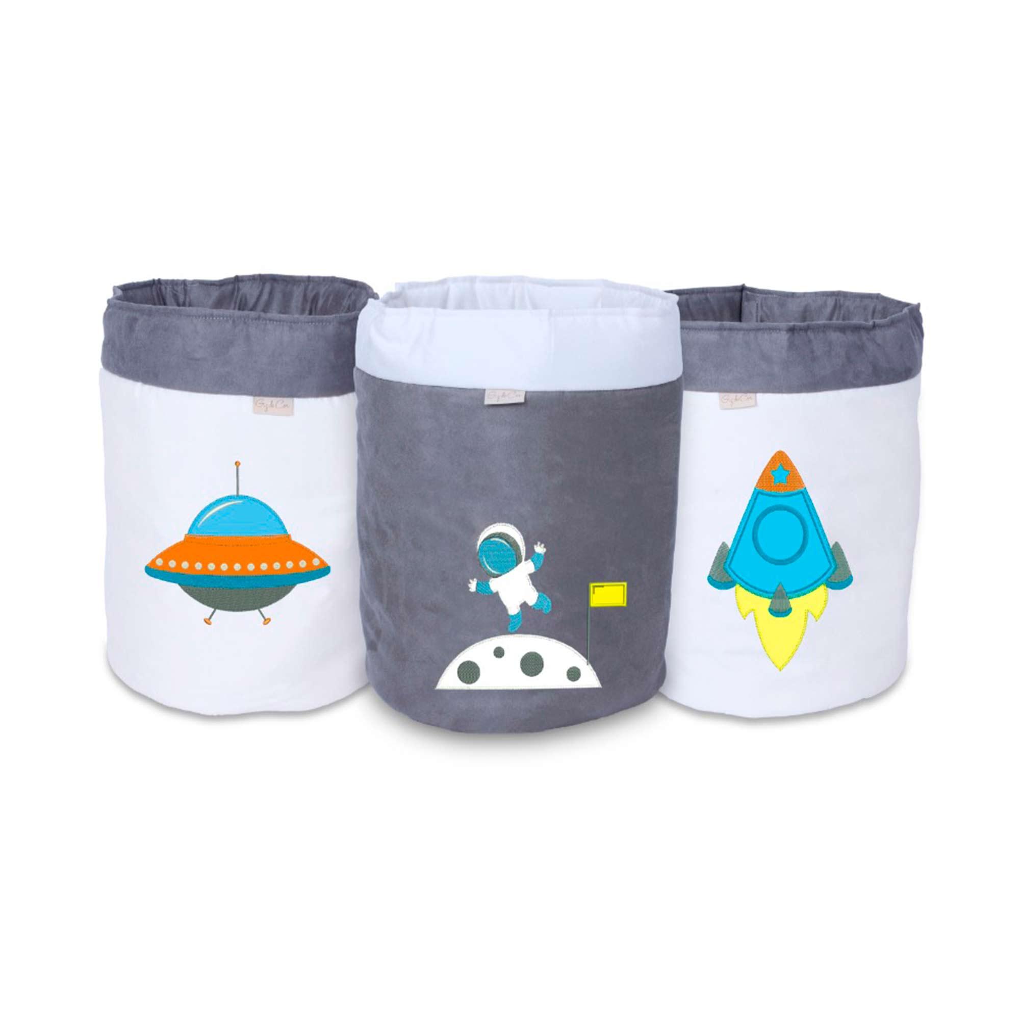 Conjunto de Cestos Organizadores Para Brinquedos Astronauta   - Toca do Bebê