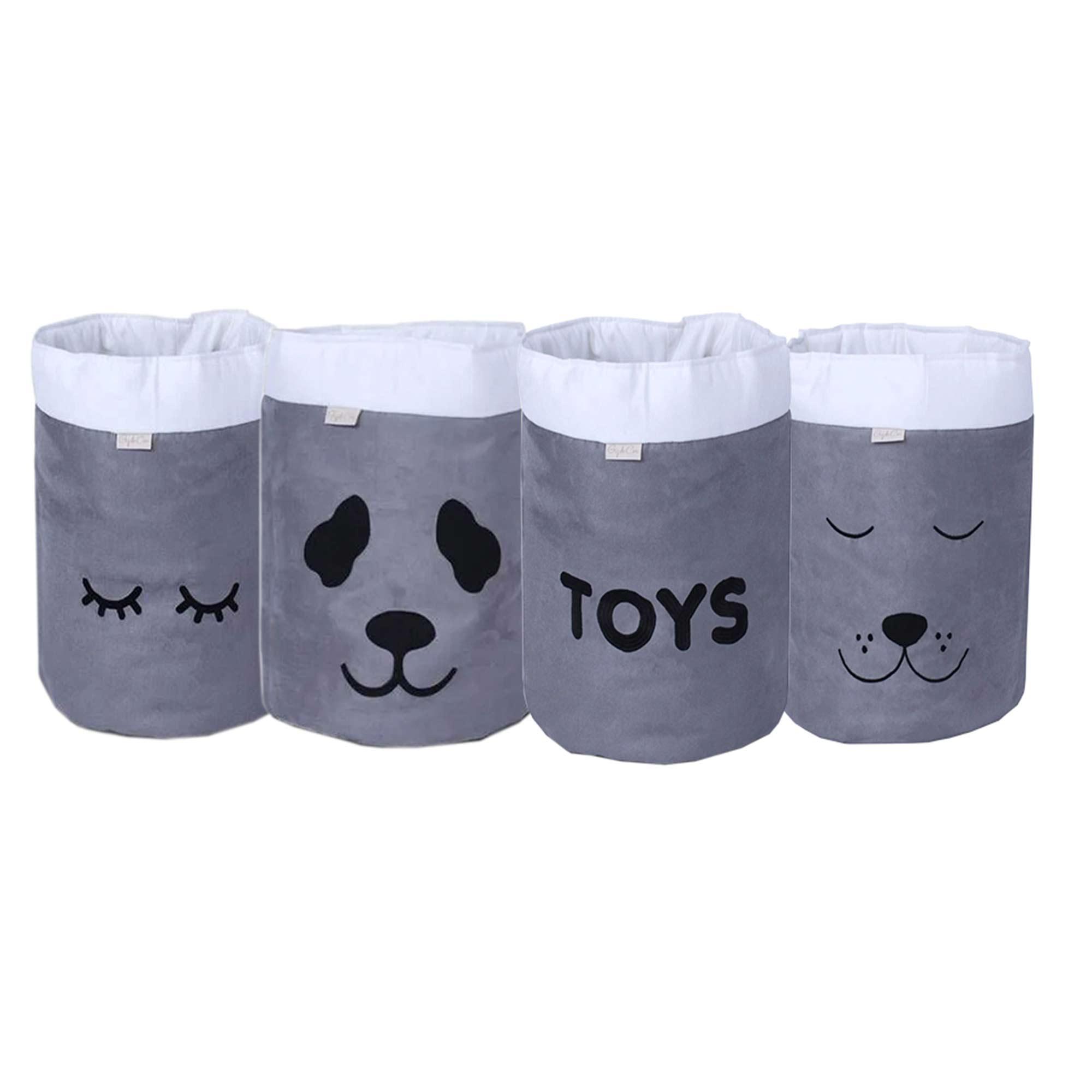 Conjunto de Cestos Organizadores Para Brinquedos Cinza com Cru
