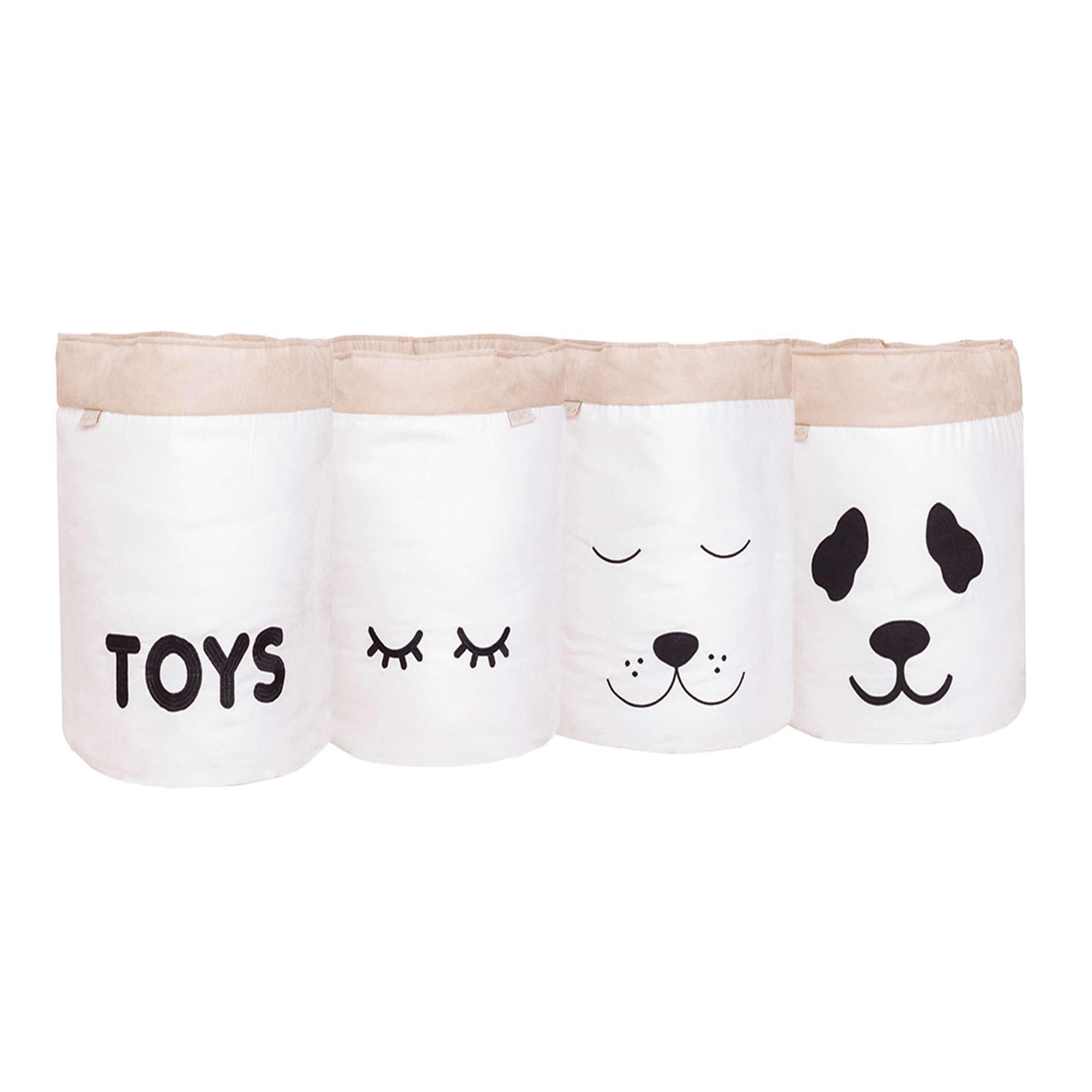 Conjunto de Cestos Organizadores Para Brinquedos Cru com Caqui