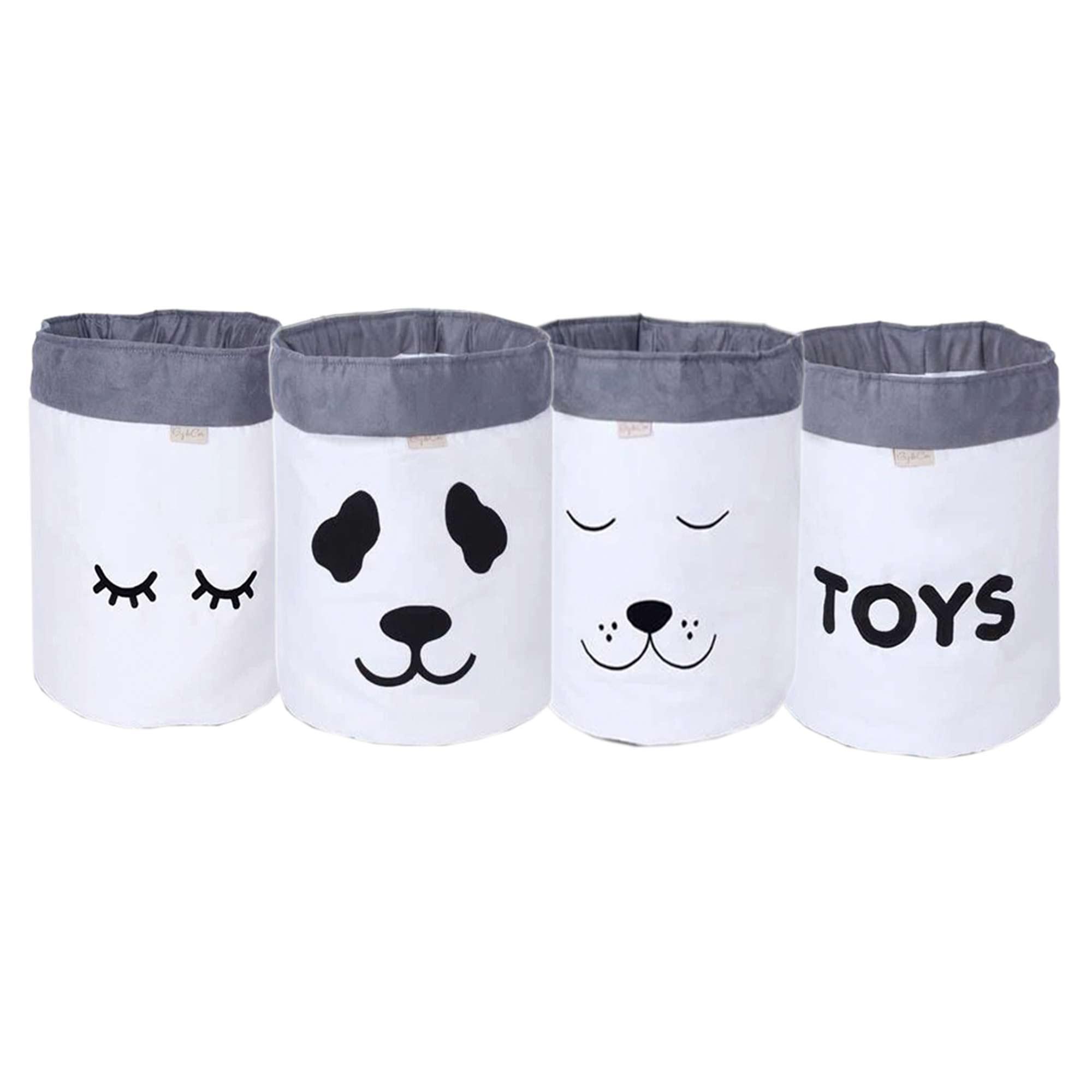 Conjunto de Cestos Organizadores Para Brinquedos Cru com Cinza