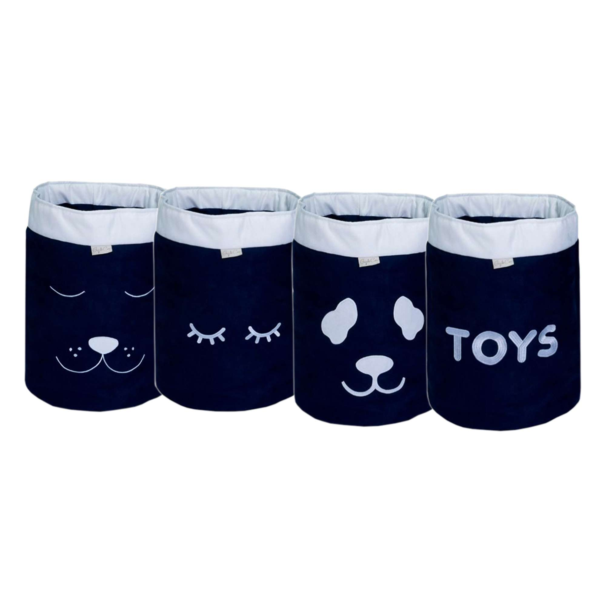 Conjunto de Cestos Organizadores Para Brinquedos Marinho com Cru   - Toca do Bebê