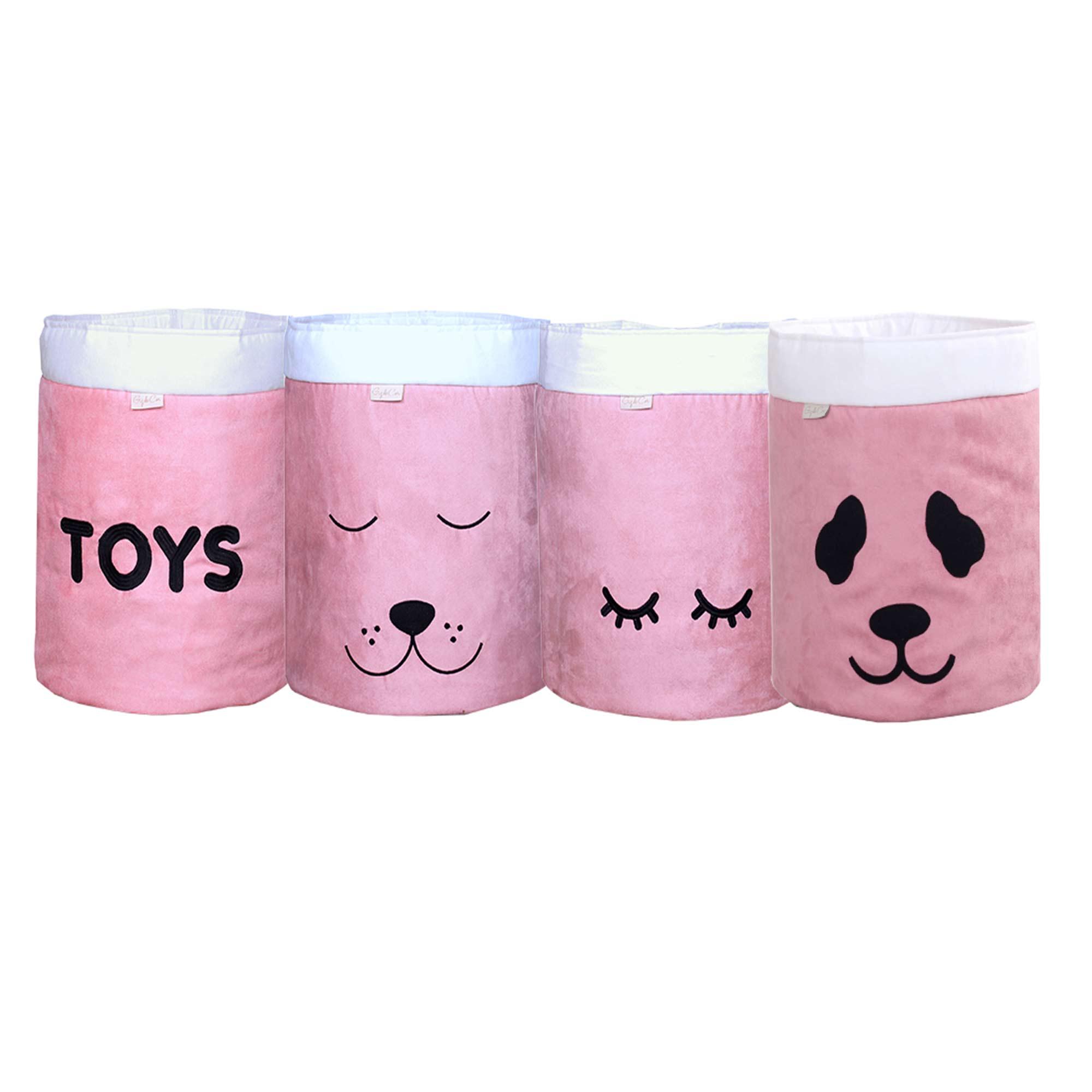 Conjunto de Cestos Organizadores Para Brinquedos Rosê com Cru  - Toca do Bebê