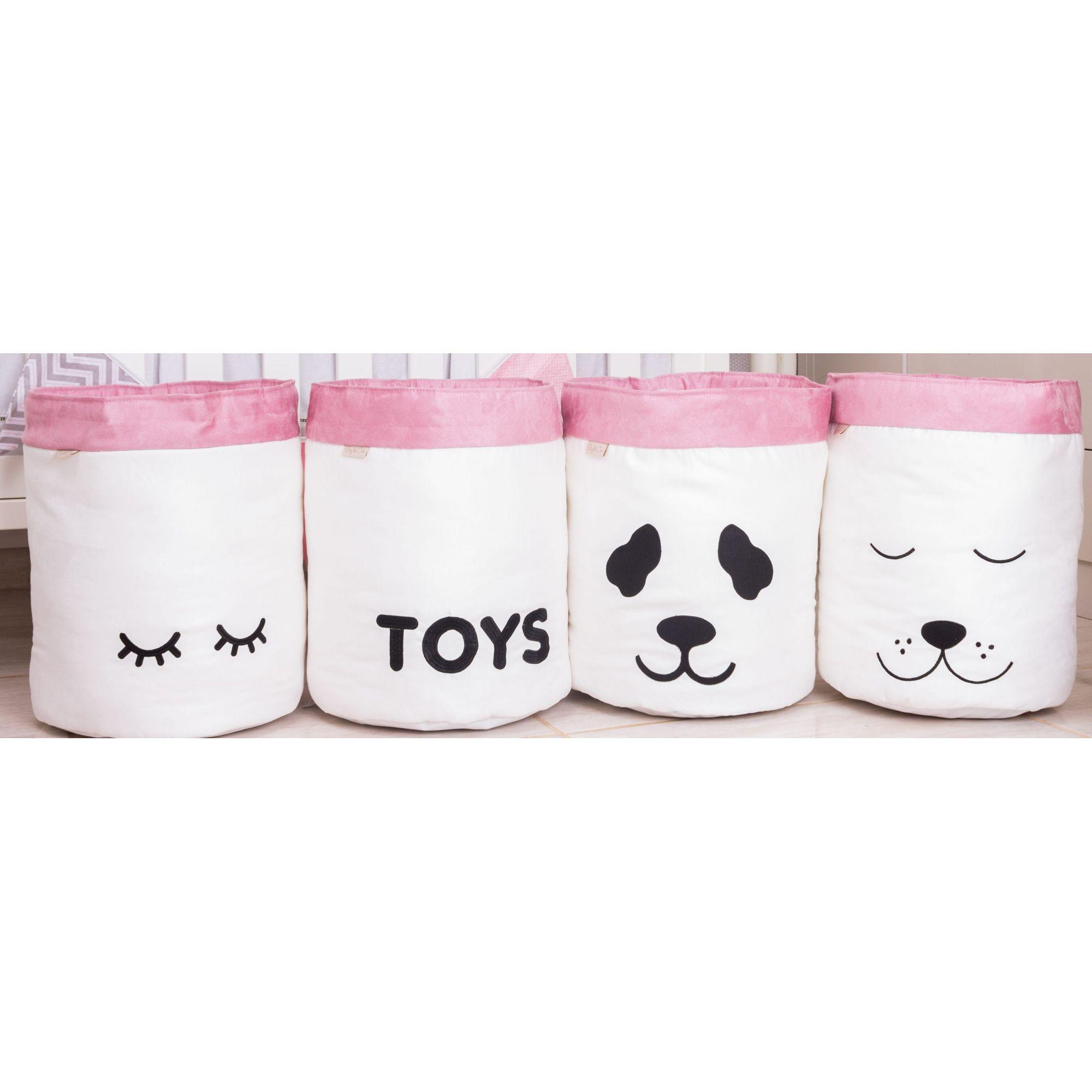 Conjunto de Cestos Organizadores Para Brinquedos Cru com Rosê