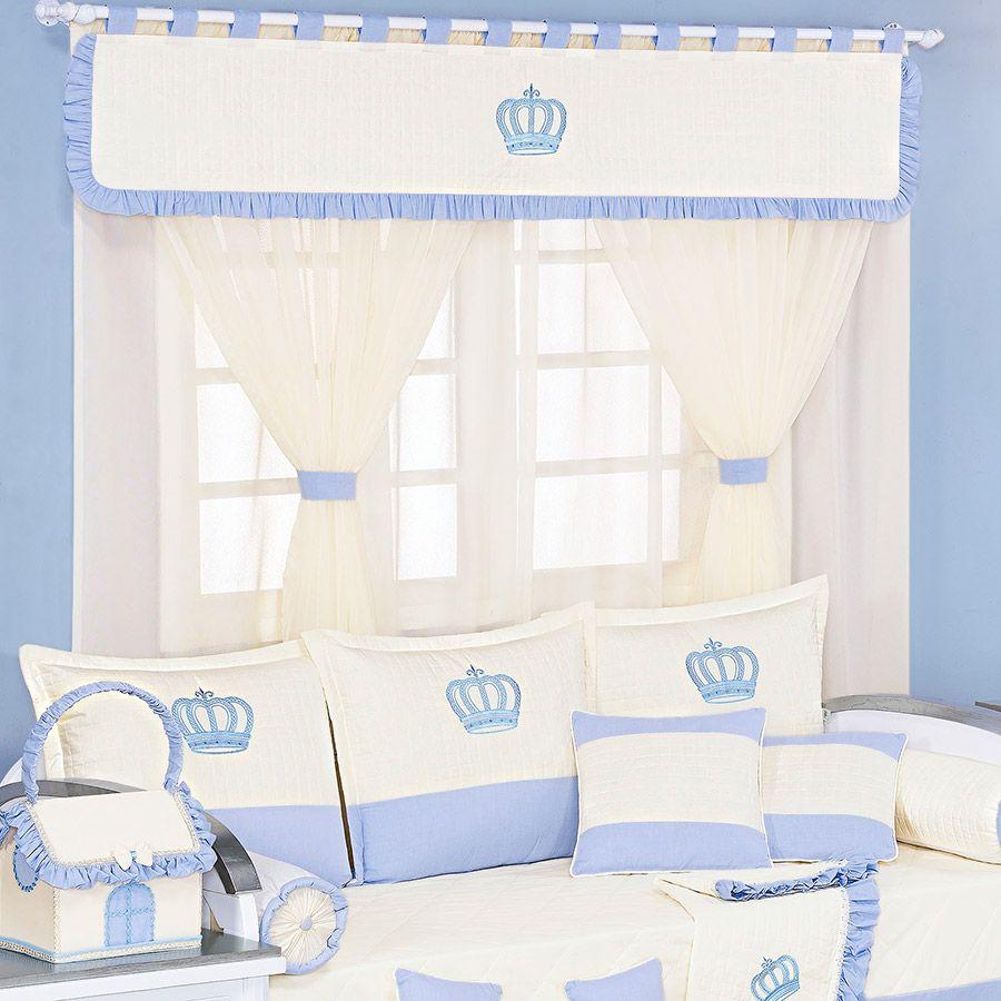 Cortina de Voil c/ Forro Kit Realeza Azul  - Toca do Bebê