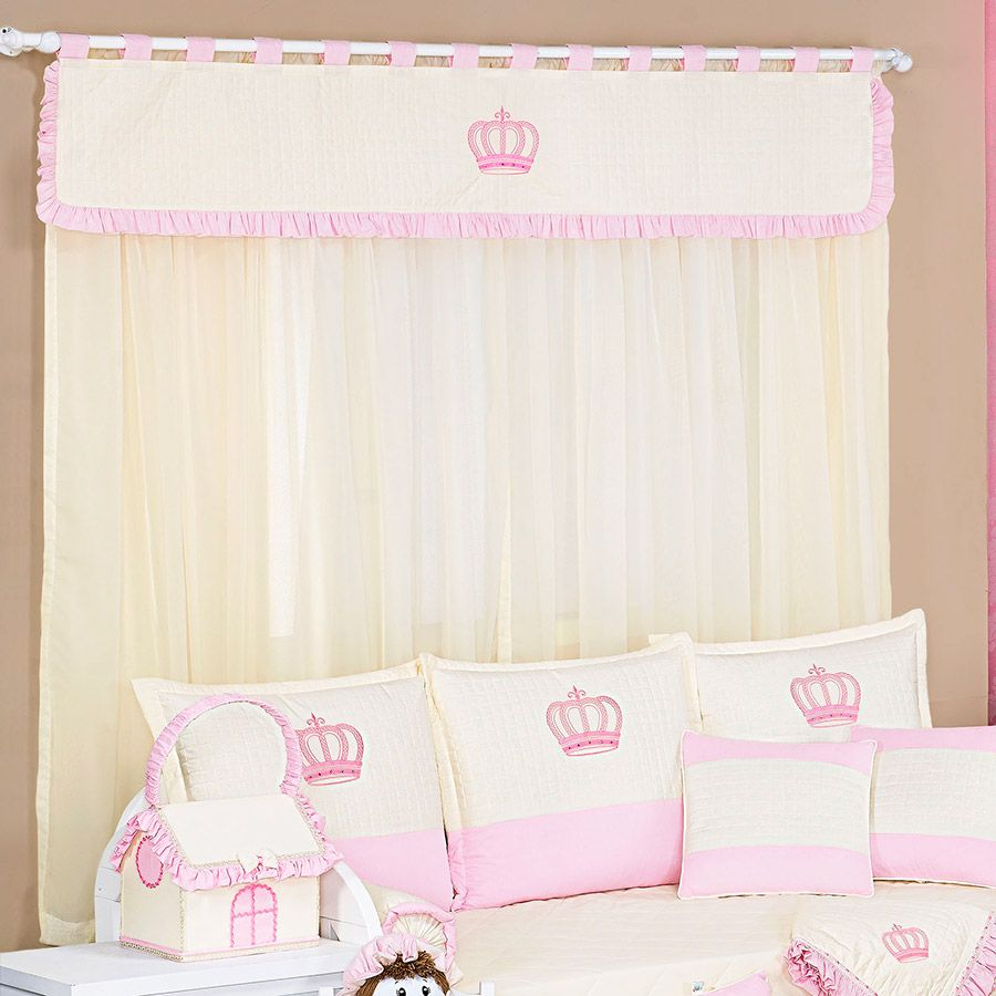 Cortina de Voil c/ Forro Kit Realeza Rosa  - Toca do Bebê