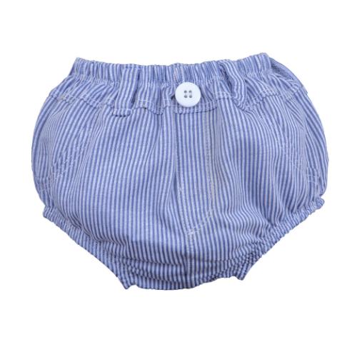 Cueca Cobre Fralda Jeans Listrado Claro  - Toca do Bebê