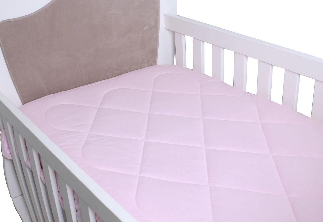 Edredom para Berço Padrão Americano Malha Rosa Bebê  - Toca do Bebê