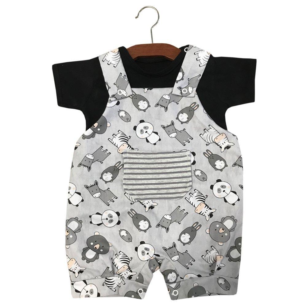Jardineira 02 Peças Bichinhos Cinza com Preto  - Toca do Bebê