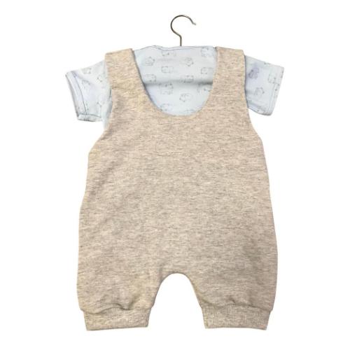 Jardineira Gatinho Cinza Mescla   - Toca do Bebê