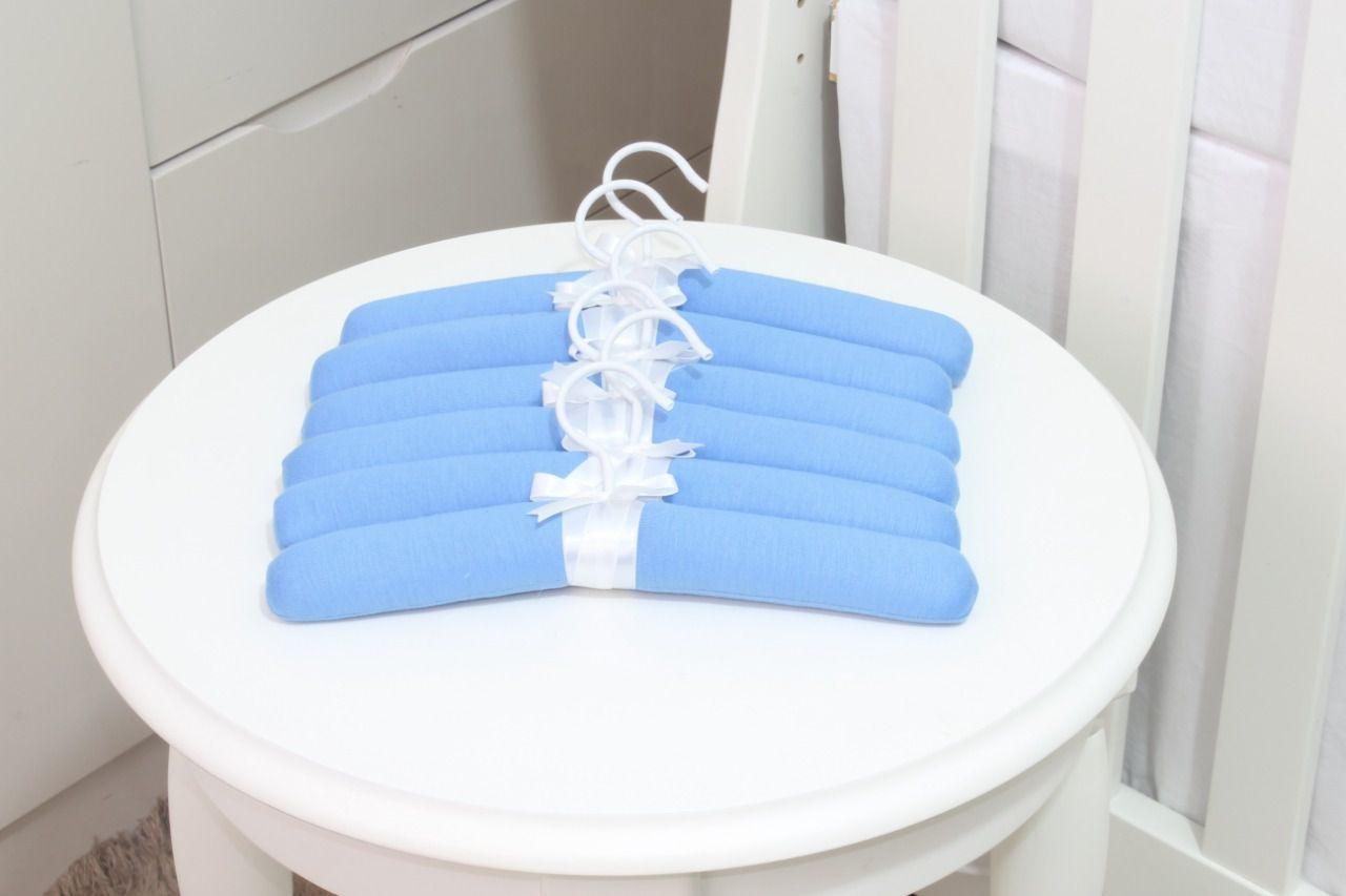 Jogo De Cabides Em Malha Azul Cobalto