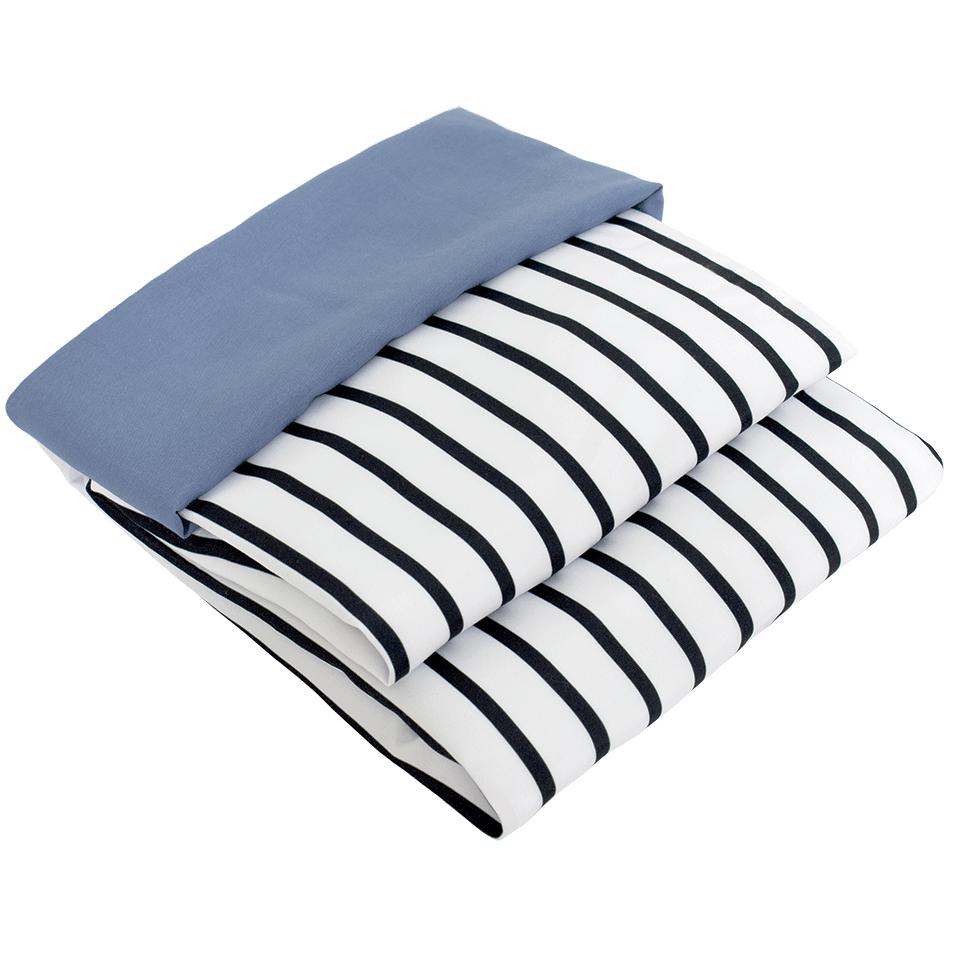 Jogo de Lençol 02 Peças para Berço Listrado com Fronha Azul Jeans Escuro