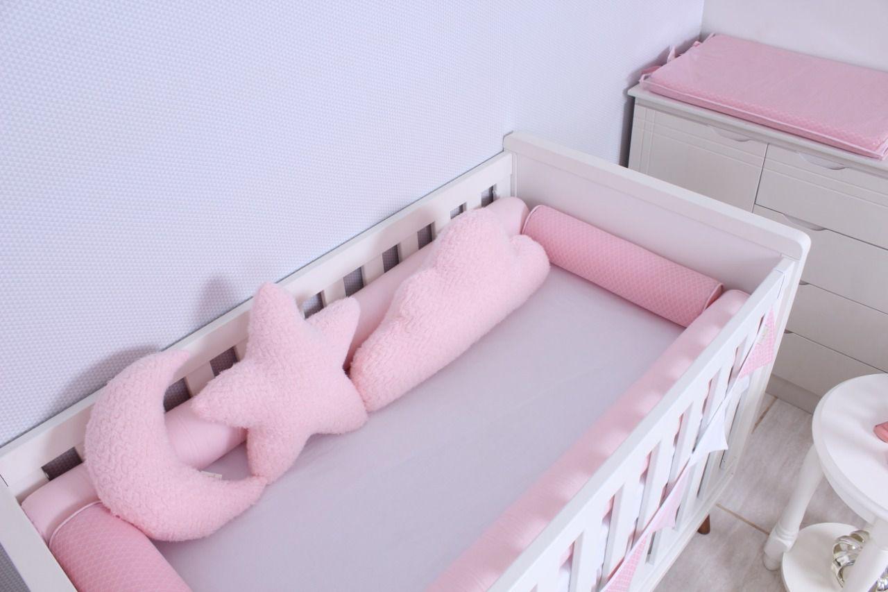 Kit de Berço 04 Rolos Arabesco Rosa Jacard  - Toca do Bebê