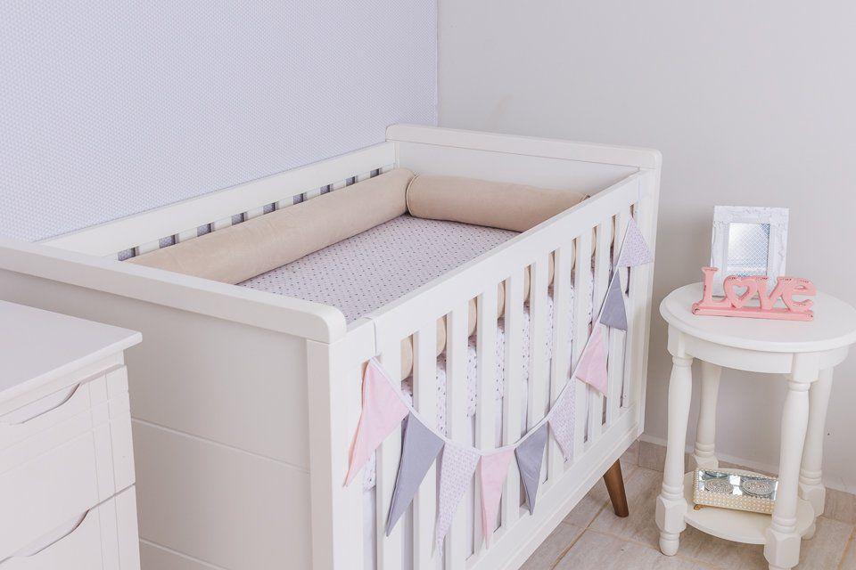 Kit de Berço 04 Rolos Suede Cáqui   - Toca do Bebê