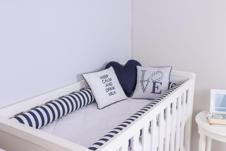 Kit de Berço 04 Rolos Listrado Marinho  - Toca do Bebê