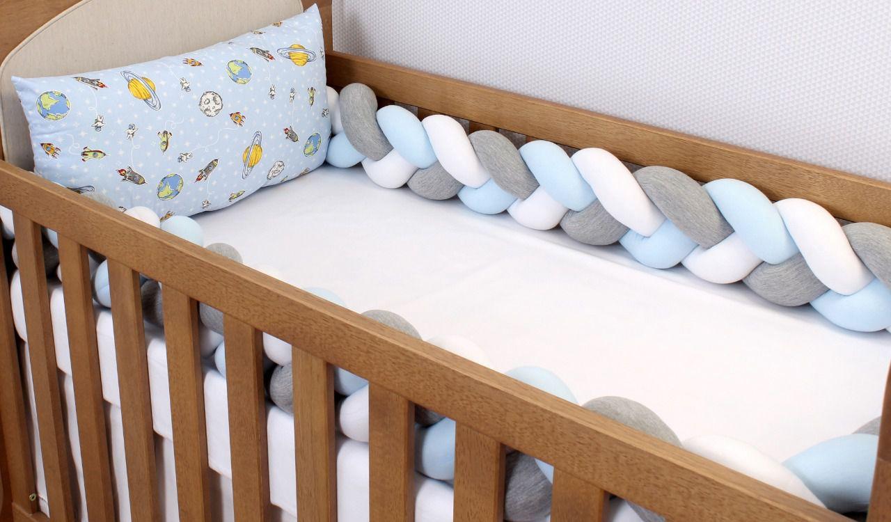 Kit de Berço Trança Astronauta Azul 06 Peças  - Toca do Bebê