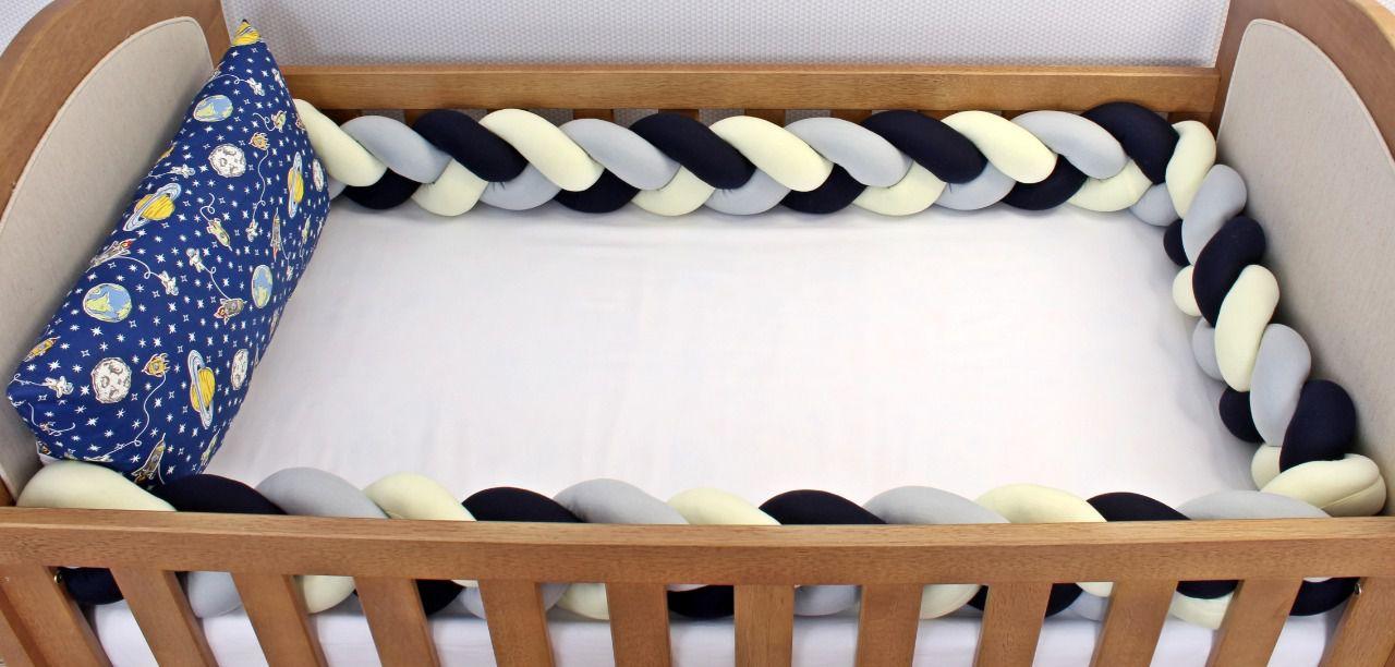 Kit de Berço Trança Astronauta Marinho 06 Peças  - Toca do Bebê