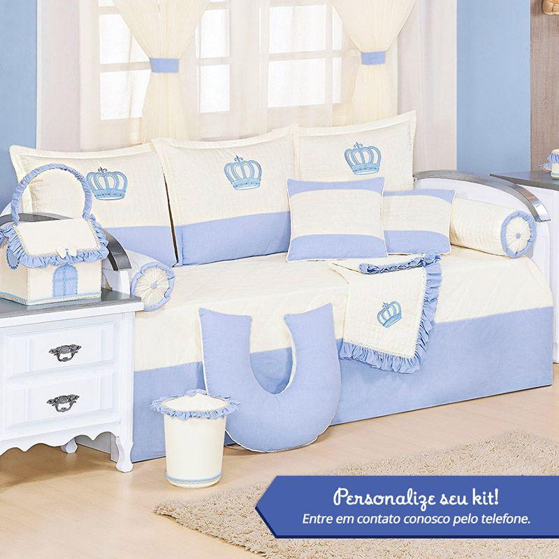 Kit Bicama Personalizado Realeza Azul 08 Peças