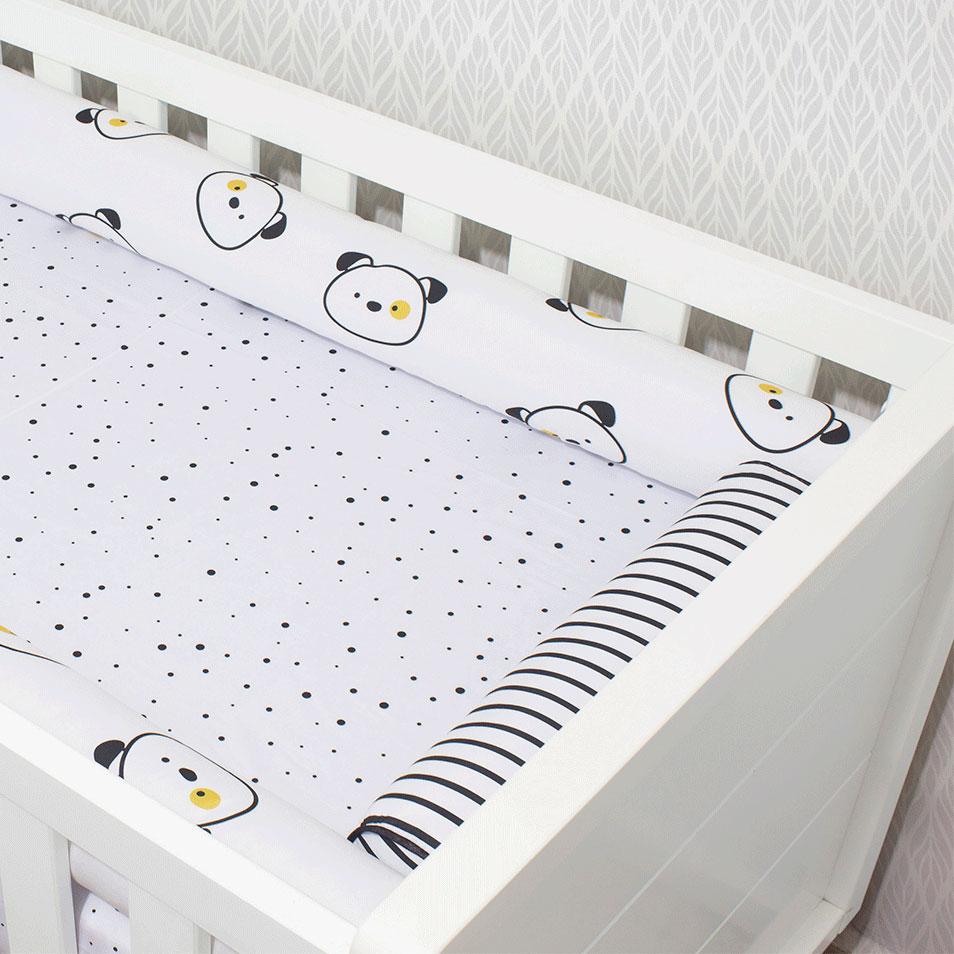 Kit de Berço 07 Peças Coleção Black White Cachorro  - Toca do Bebê