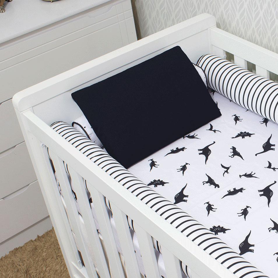 Kit de Berço 07 Peças Coleção Black White Dino  - Toca do Bebê