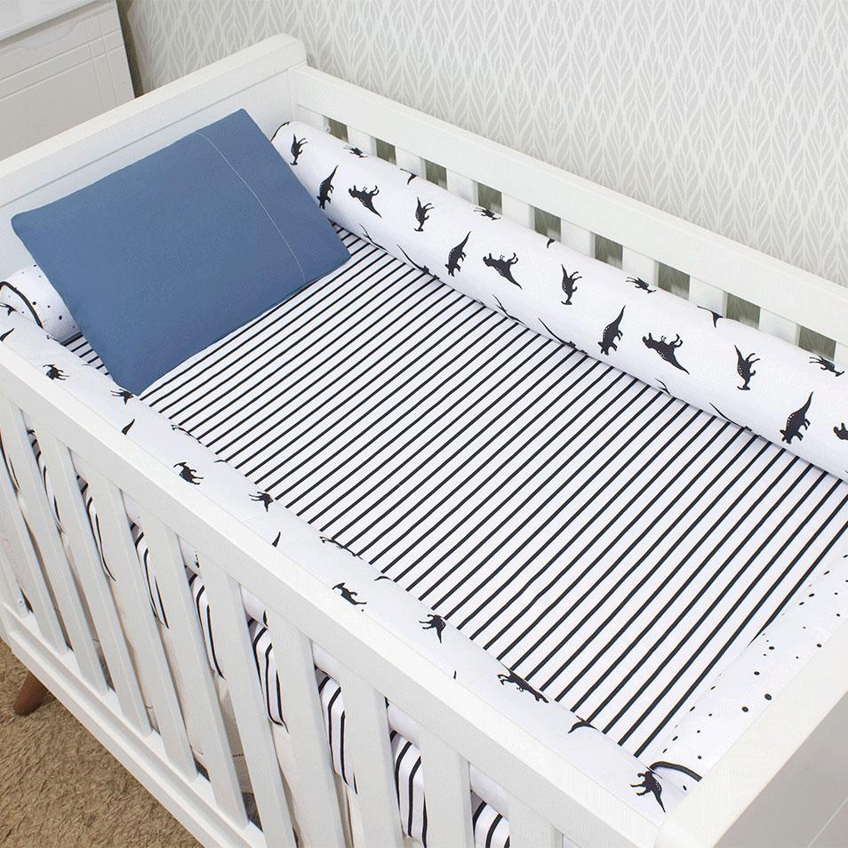 Kit de Berço 07 Peças Coleção Black White Dino