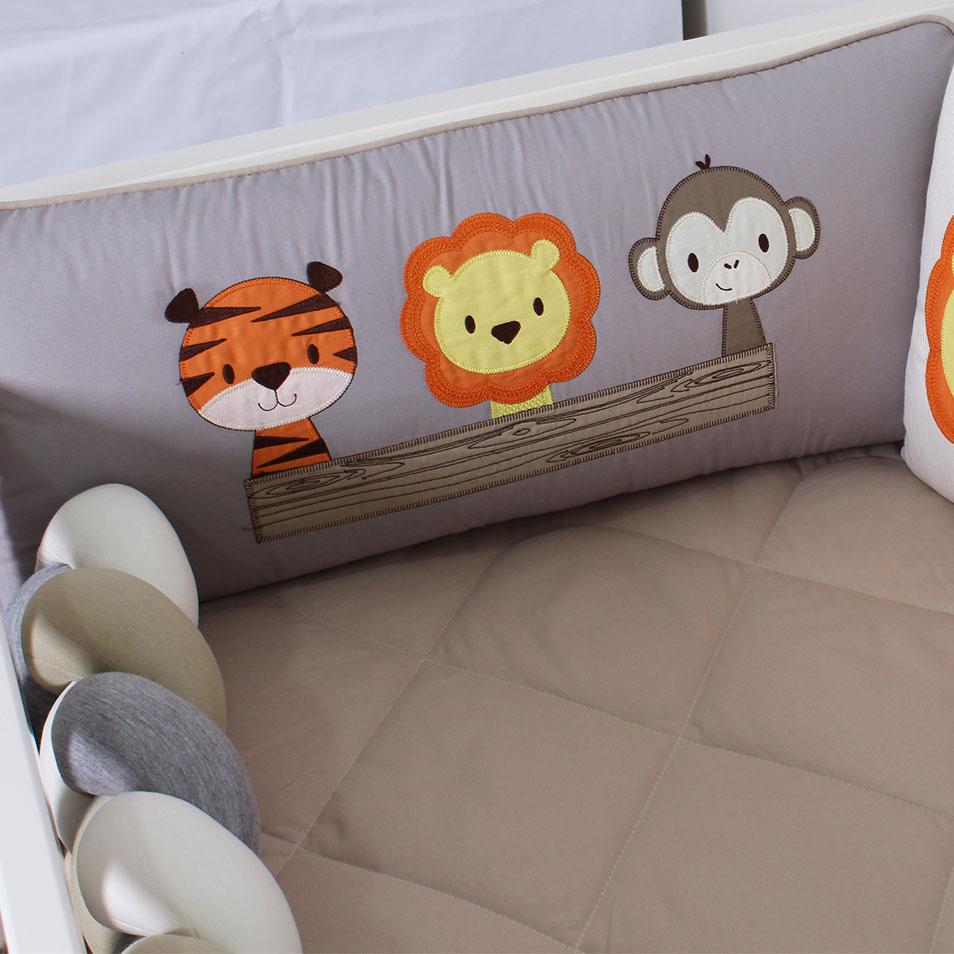 Kit de Berço Almofadinhas Amiguinhos Safári 10 Peças  - Toca do Bebê