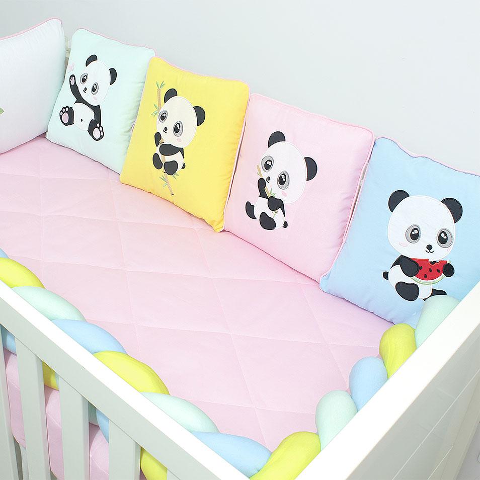 Kit de Berço Almofadinhas Colorful Panda 10 Peças  - Toca do Bebê