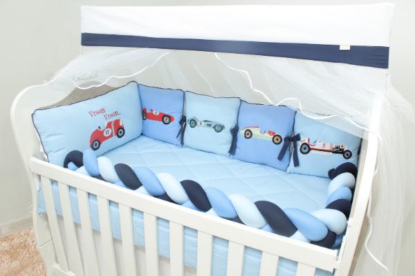 Kit de Berço Almofadinhas Fórmula 1 10 Peças  - Toca do Bebê