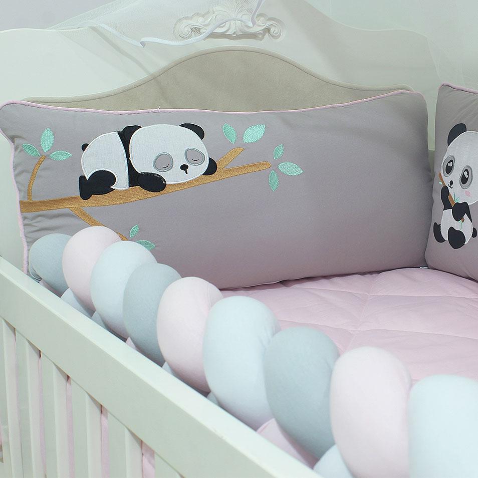 Kit de Berço Almofadinhas Little Panda 10 Peças  - Toca do Bebê