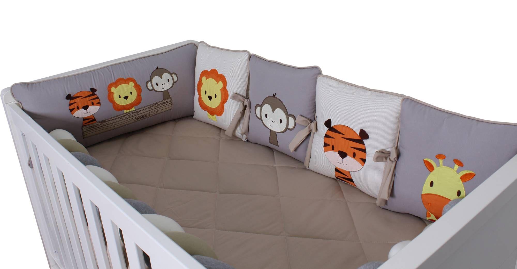 Kit de Berço Almofadinhas Amiguinhos Selva 10 Peças  - Toca do Bebê