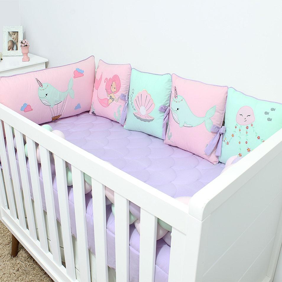 Kit de Berço Almofadinhas Sereia 10 Peças  - Toca do Bebê