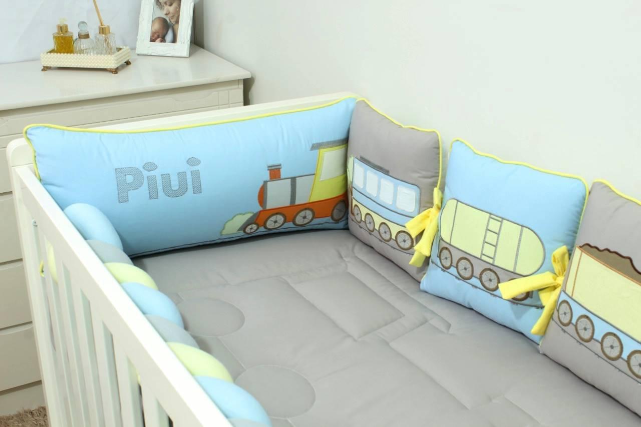 Kit de Berço Almofadinhas Trenzinho Azul 10 Peças  - Toca do Bebê
