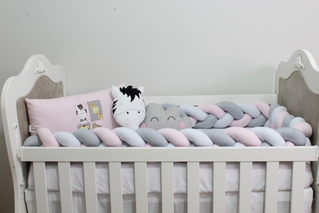 Kit de Berço Trança Amiguinhos Baby Zoo Rosa 08 Peças  - Toca do Bebê
