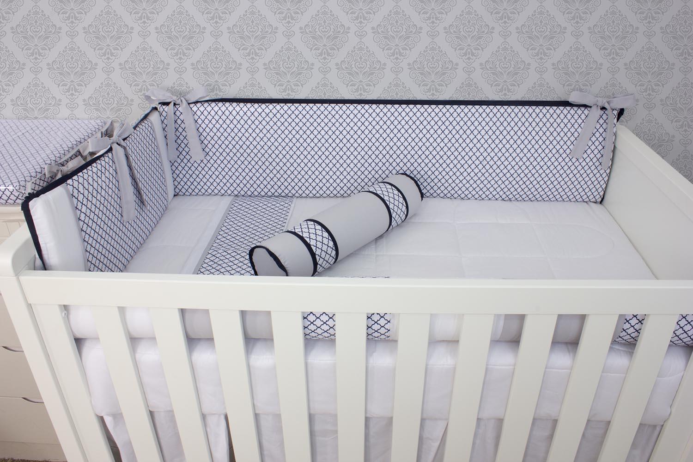 Kit de Berço Arabesco Marinho 08 Peças   - Toca do Bebê