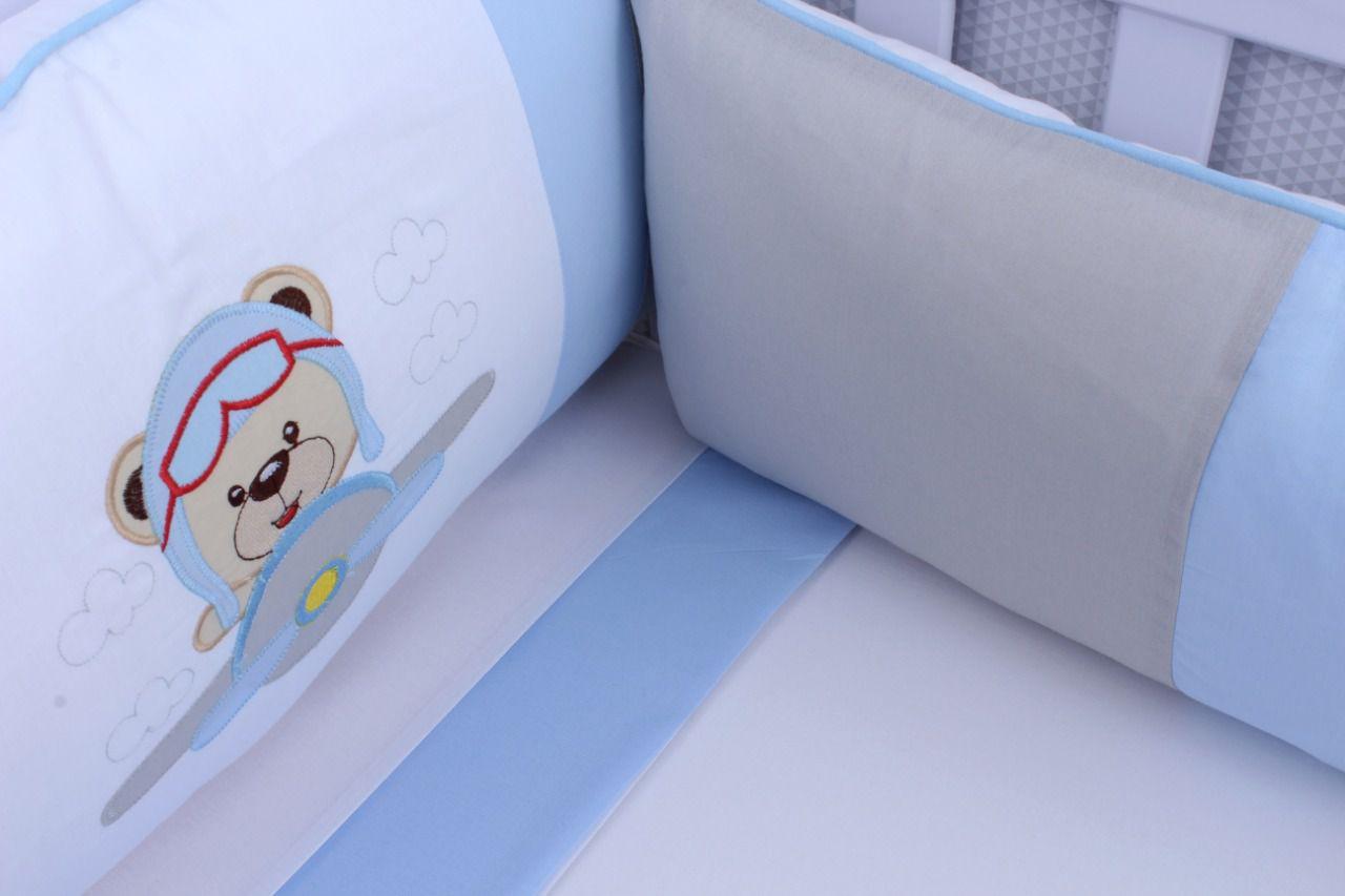 Kit de Berço Aviador Azul Bebê 09 Peças  - Toca do Bebê