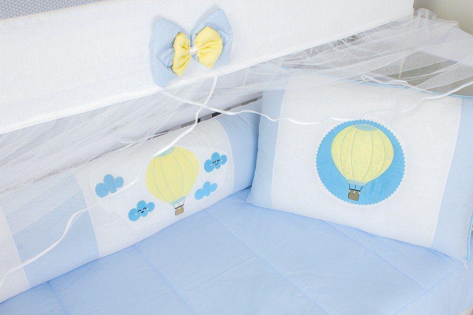 Kit de Berço Balão Azul 09 Peças   - Toca do Bebê