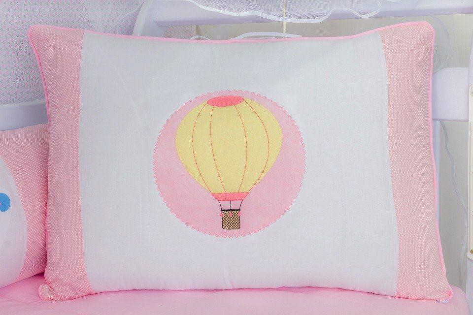 Kit de Berço Balão Rosa 09 Peças   - Toca do Bebê
