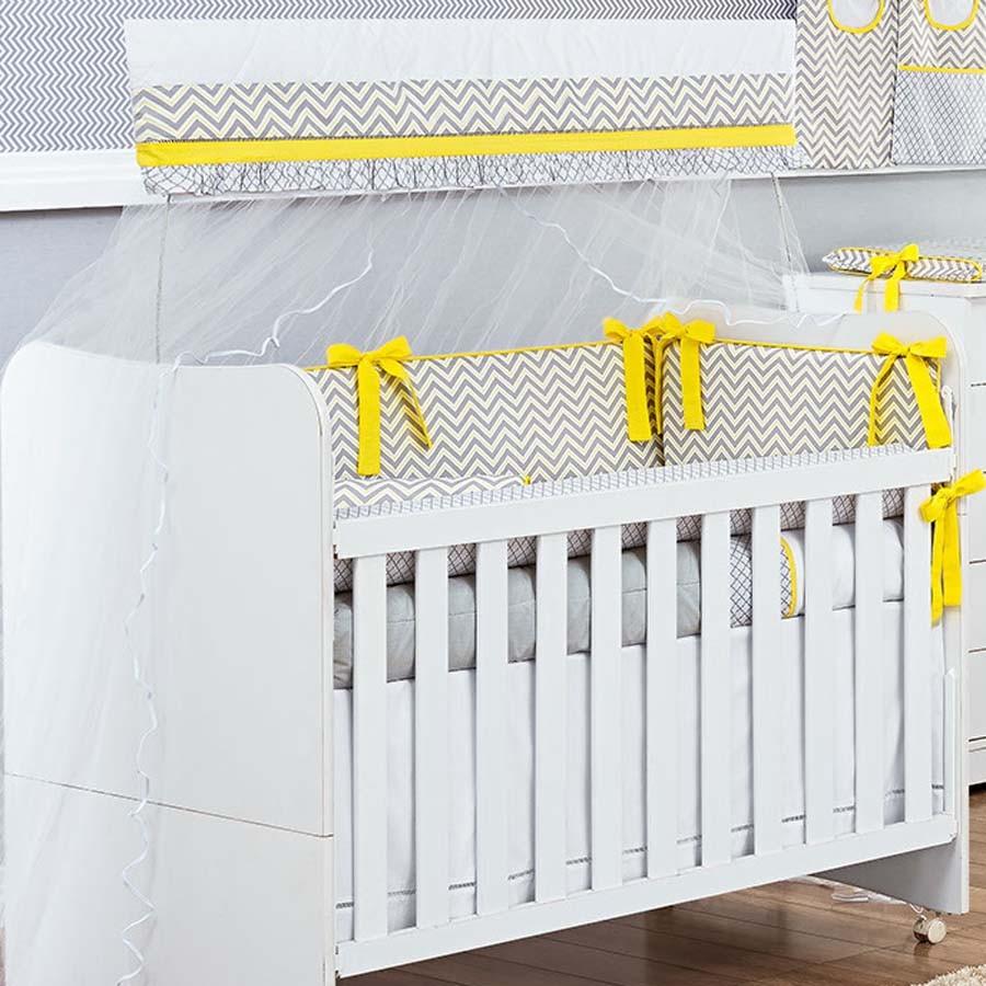 Kit de Berço Chevron Amarelo 09 Peças  - Toca do Bebê