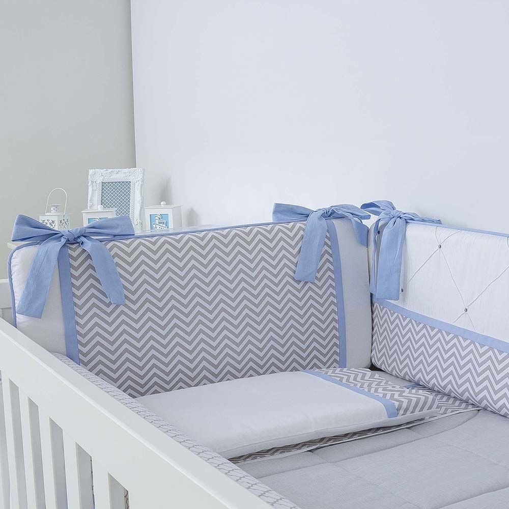 Kit de Berço Chevron Azul 09 Peças  - Toca do Bebê