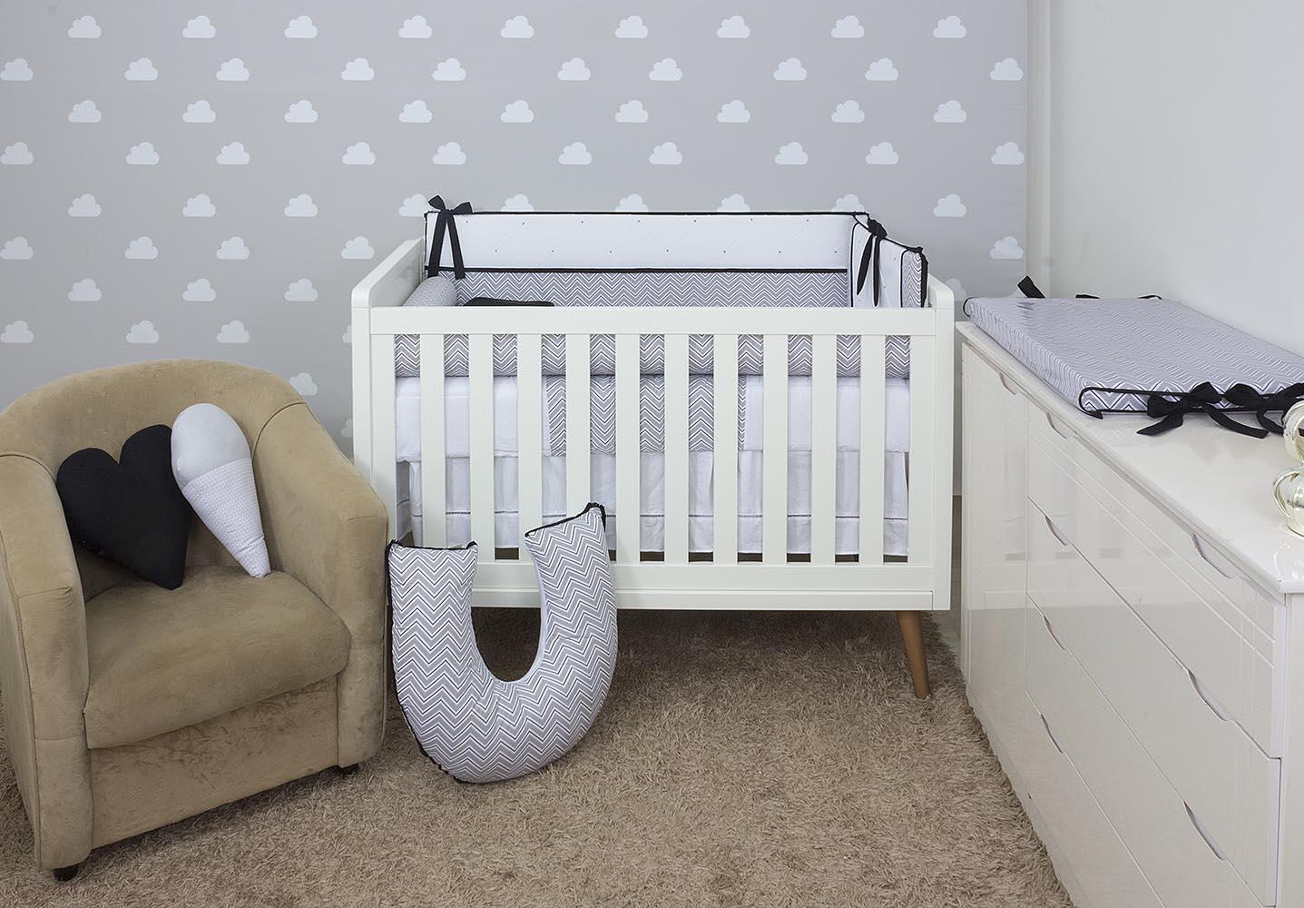 Kit de Berço Chevron Cinza com Preto 08 Peças  - Toca do Bebê