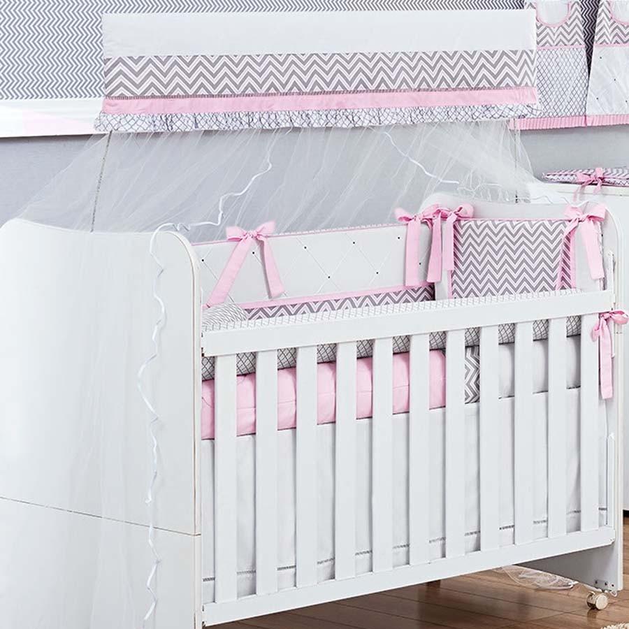 Kit de Berço Chevron Rosa 09 Peças  - Toca do Bebê