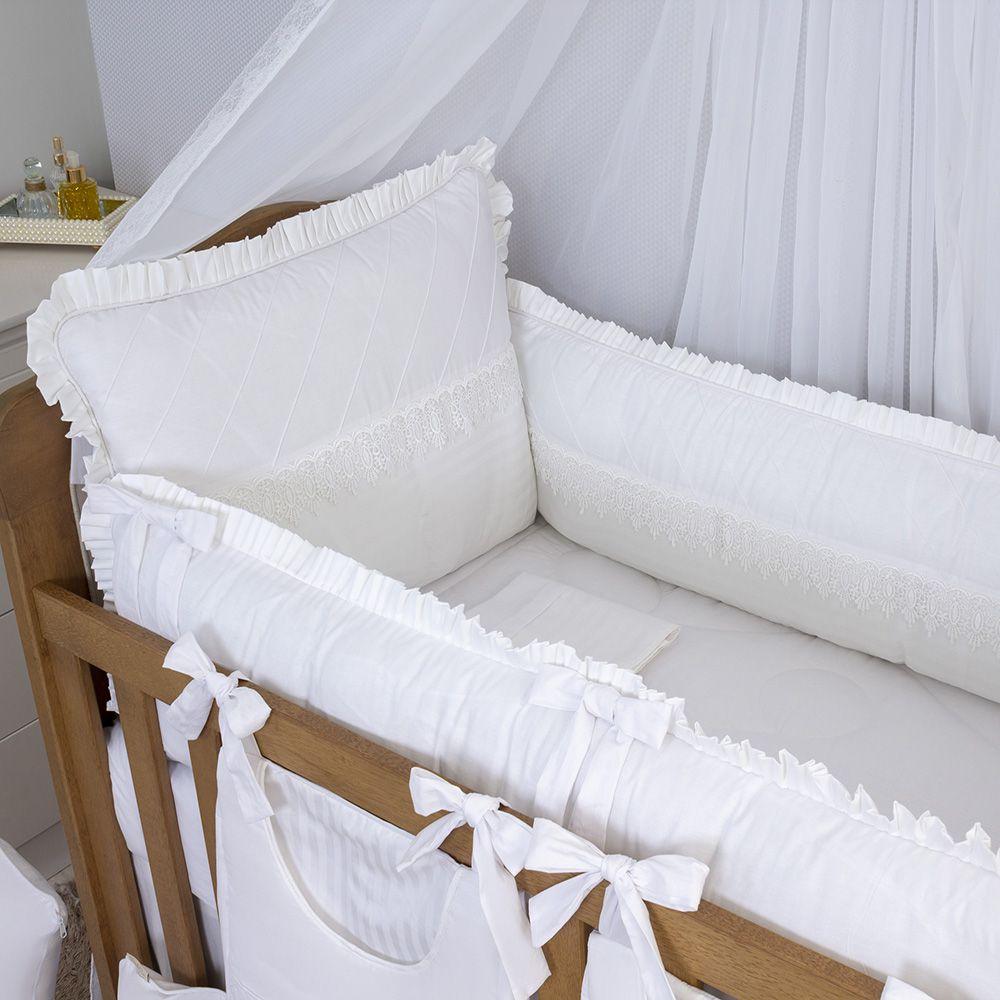 Kit de Berço Classic Branco 08 Peças   - Toca do Bebê