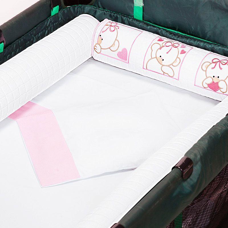 Kit de Berço Desmontável 07 Peças Rosa/Branco
