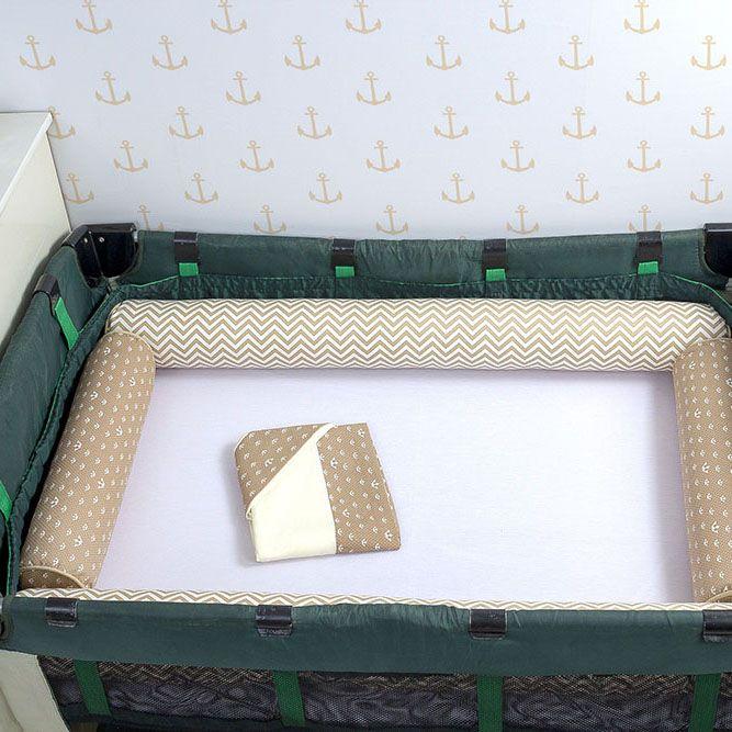 Kit de Berço Desmontável 07 Peças Chevron Cáqui com Coroa