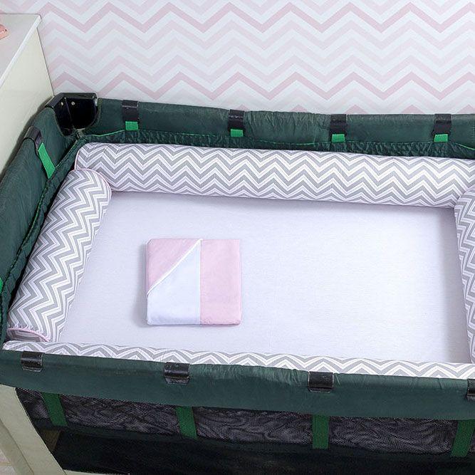 Kit de Berço Desmontável 07 Peças Chevron Cinza com Listras Rosa