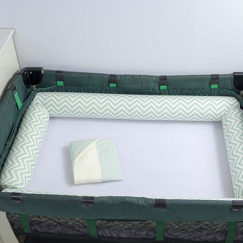 Kit de Berço Desmontável 07 Peças Chevron Verde  - Toca do Bebê